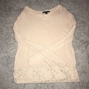 Forever 21 Long Sleeve Lace Trim Blouse